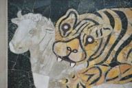 Two panels in opus sectile with tiger attacking a calf