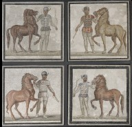 Four Circus Maximus Charioteers with Horses Mosaic