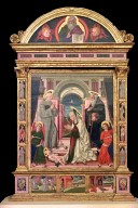 Adoration of the Child with St. Bernardino of Siena and St. Anthony Abbot, God the Father Blessing, other Saints
