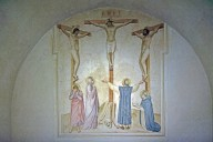 Crucifixion with Mourners and Saints Dominic and Thomas Aquinas (cell 37)
