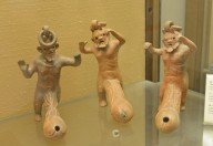 Earthenware Oil Lamps in the Form of Macrophallic Bearded Satyrs