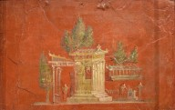 Fresco of a shrine on red-ground, from the Temple of Isis