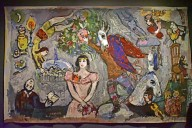 Harlequins [tapestry copy of Chagall painting]