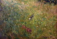 Dogs Running in a Meadow