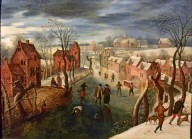 Winter Landscape with a Village and Skaters on a Frozen River, Hunters in the Foreground