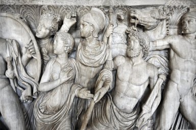 Sarcophagus: Achilles in the house of King Lycomedes, Sarcophagus: Achilles in the house of King Lycomedes