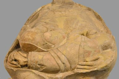 Statue of Mother Goddess (Kourotrophos) breast feeding two twins (from Megara Hyblaea)