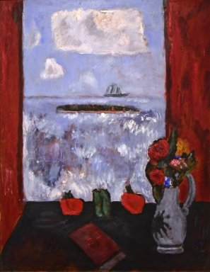 Summer, Sea, Window, Red Curtain