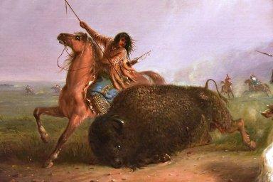 Buffalo Hunt with Lances