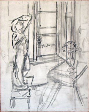 Interior with 'The Slave' [preparatory under-drawing]