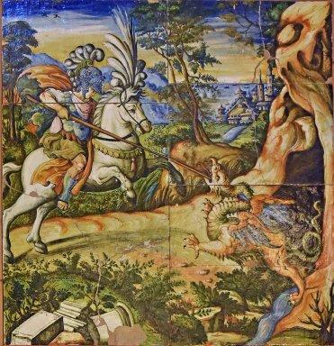 Majolica Tiles, Saint Crescentinus Slaying the Dragon
