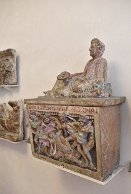 Etruscan Cinerary Urns with Reclining Figure and Battle Scene