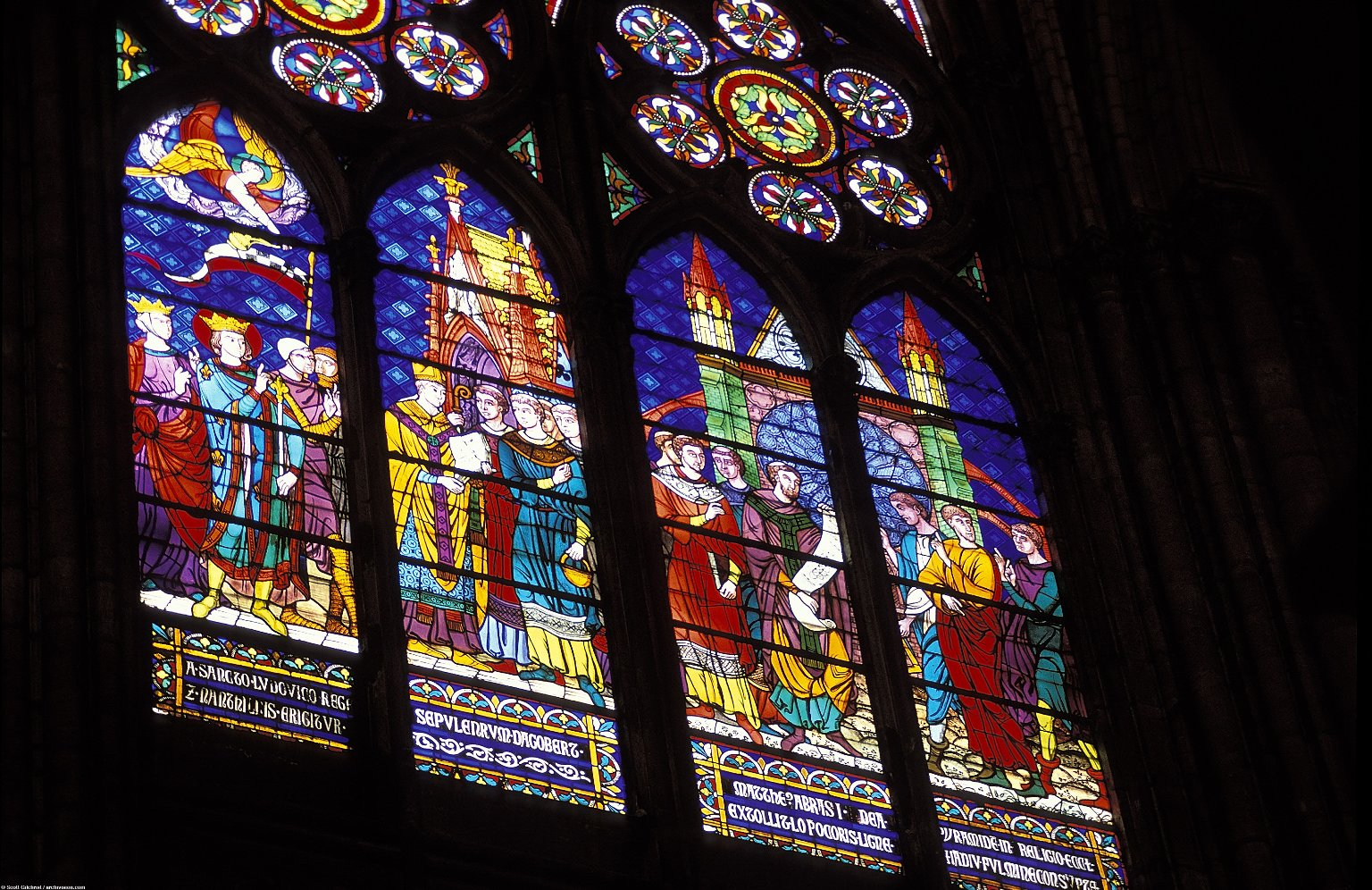 Saint-Denis: Stained Glass in Chancel and Rose Windows